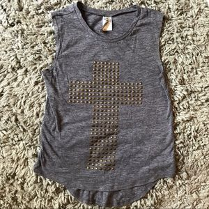 Ransom gray tank top with gold studded cross